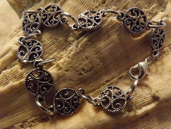 Round Scrollwork Bracelet by DebWiseCreations on Etsy, $10.99
