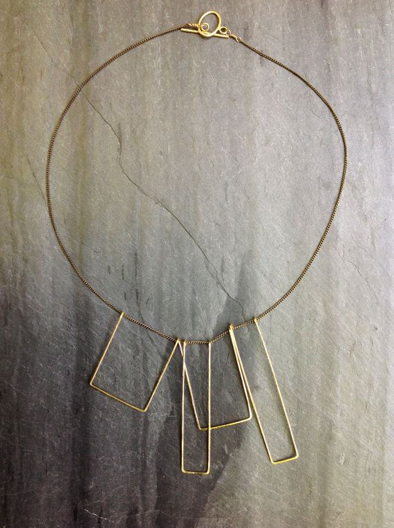 Gold Hammered Art Deco Geometric Statement Necklace on fine Brass -  gold geometric, square necklace, gold deco necklace - by Loop Jewelry on Etsy, $65.00