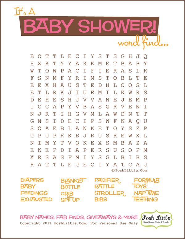 Crossword Puzzle For Baby Shower Part - 21: 10 Best Baby Shower Game Ideas
