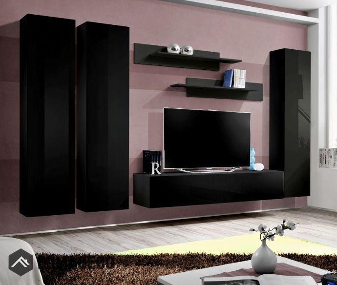 Idea D1 Black Wall Units For Living Room Entertainment Wall Units Modern Wall Units Living Room Wall Units