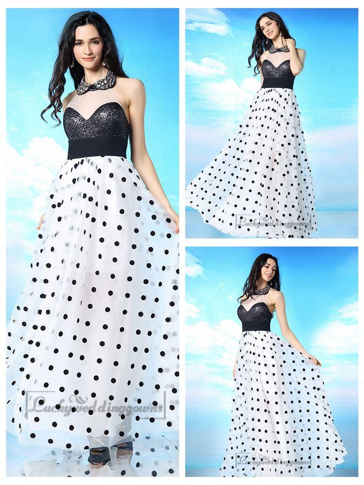 Beaded Illusion High Neckline Open Back Prom Dress with White-black Spot Skirt http://www.ckdress.com/beaded-illusion-high-neckline-open-back-prom-dress-with-whiteblack-spot-skirt-p-2043.html  #wedding #dresses #dress #lightindream #lightindreaming #wed #clothing #gown #weddingdresses #dressesonline #dressonline #bride