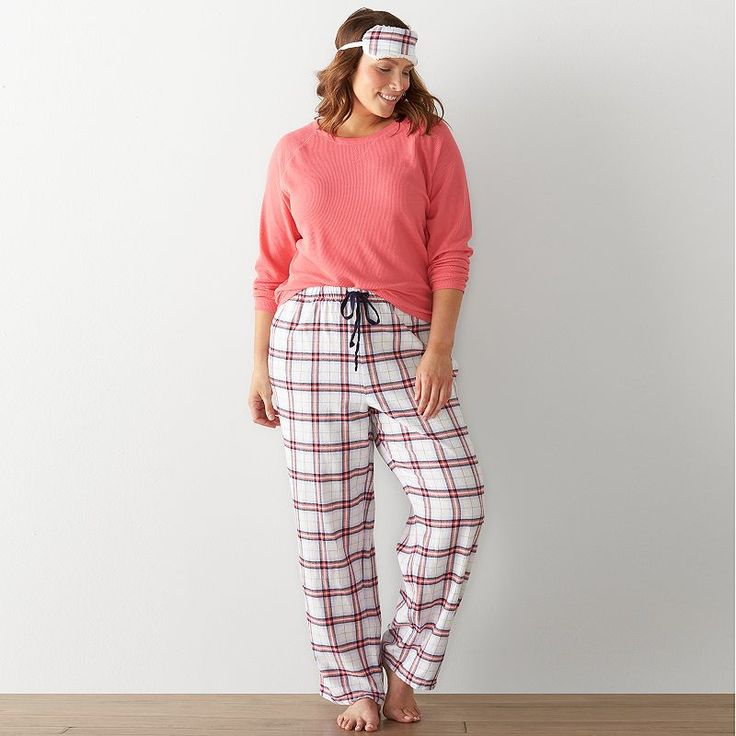 Plus Size SONOMA Goods for Life™ Pajamas: 3-Piece Thermal Flannel Pajama Set, Women's, Size:
