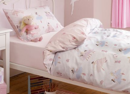 Girls Tabatha Ballerina Duvet Set This beautiful girls duvet set displays elegant ballerina dancers and soft pink rose buds. The set includes one duvet and one pillowcase. 50% cotton, 50% polyester.