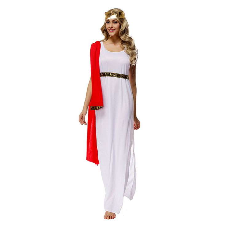 Women's White Athena Goddess Arab Princess Dress For Halloween Costumes Cleoptra Queen Cosplay One Size