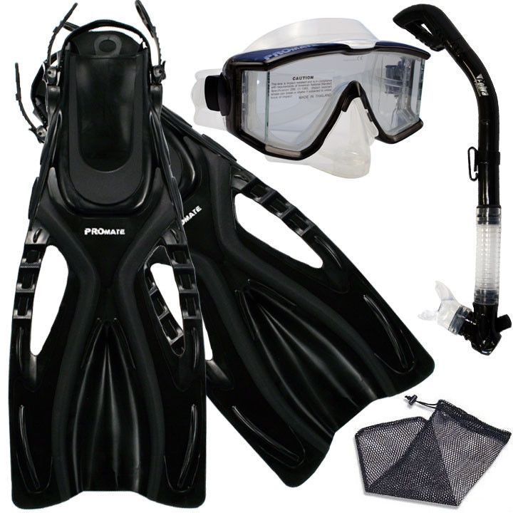 Promate Snorkeling Panoramic Purge Dive Mask Dry Snorkel Fins Gear Set #Promate