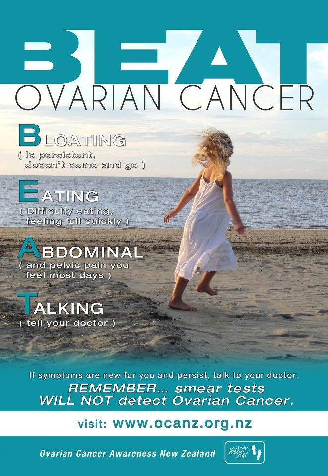 New poster from Ovarian Cancer Awareness New Zealand! B.E.A.T is a great way to remember the symptoms of Ovarian Cancer.