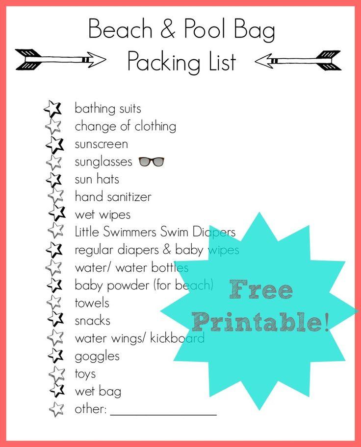 beach & pool bag packing list {Free Printable}