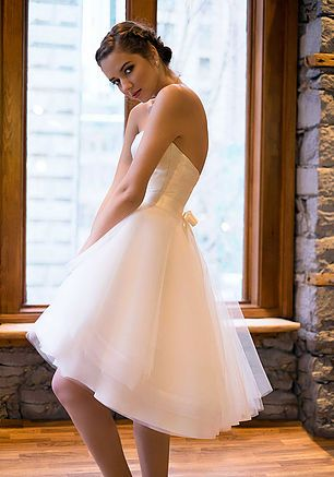 Bridal  Separates- Audrey bustier (in Ivory duchess silk satin) & Alice high-Low skirt (Tulle)- wedding dress designer-