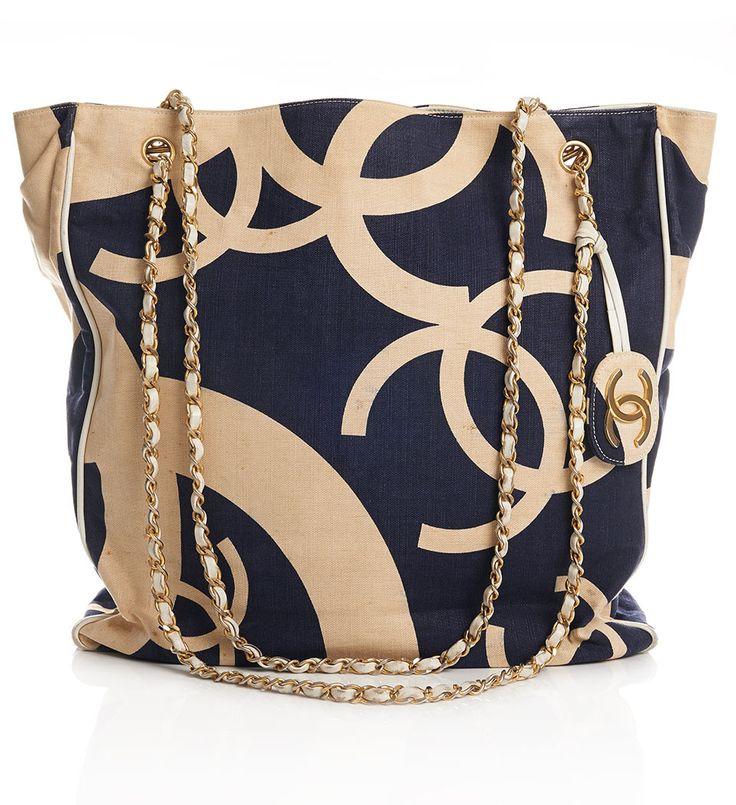 Vintage chanel blue CC beach bag tote | Click to Shop