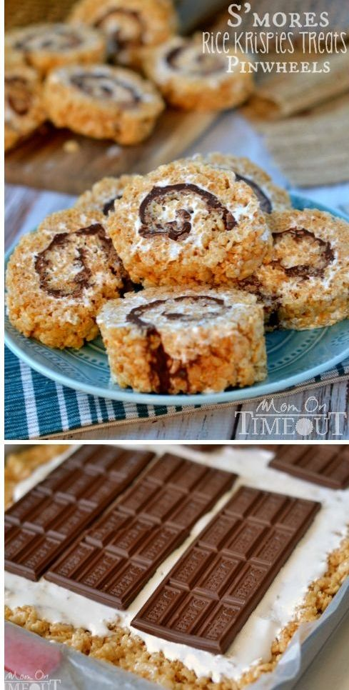 Say goodbye to boring squares and hello to these fun S'mores Rice Krispies Treats Pinwheels! | MomOnTimeout.com