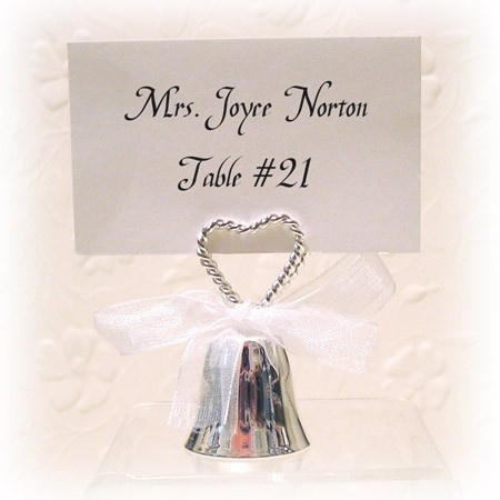 Silver Double Heart Rope Bell Placecard Holder Set Of