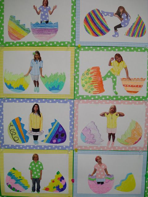 Hatching kids bulletin board with student pictures and Easter eggs!   Maybe the would learn the verb 'hatching' for the next time they take the WJ-iii