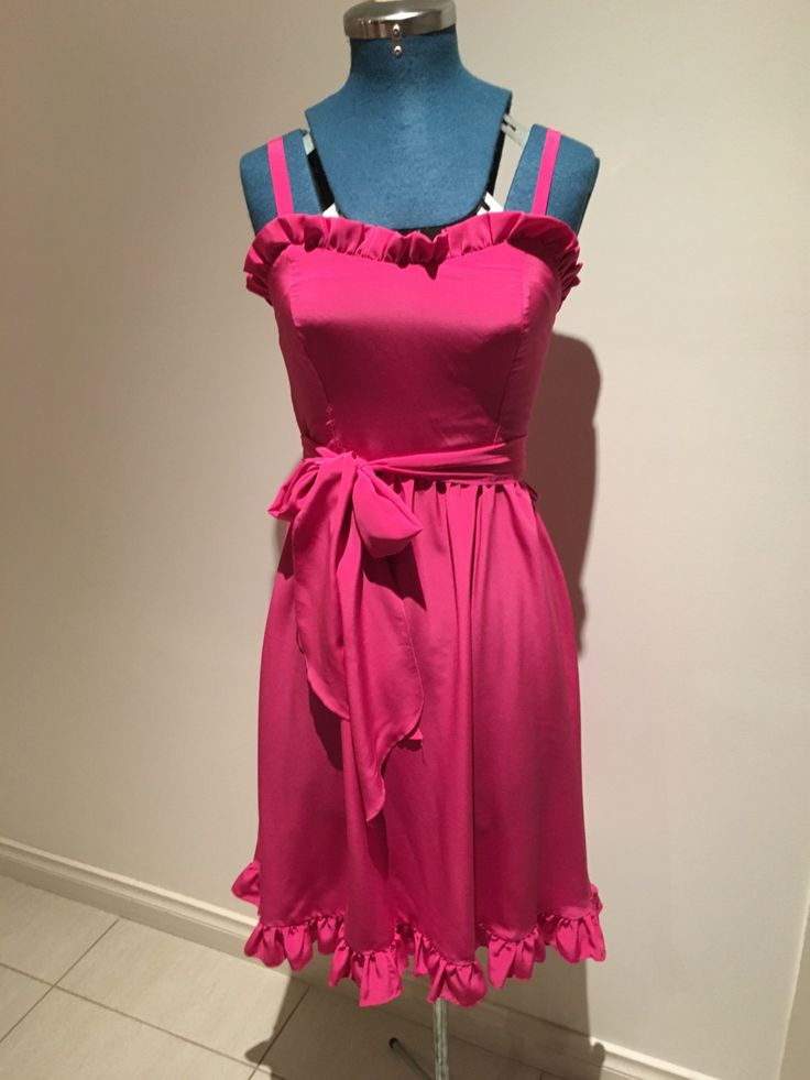 Vintage 1980's Hot Pink Strapy Dress w Frill by VivienneVIXEN on Etsy