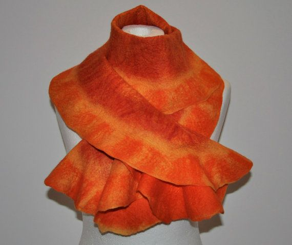 Ruffle CHRISTMAS Merino WOOL SCARF  Nuno Felted Scarf by GraceBits