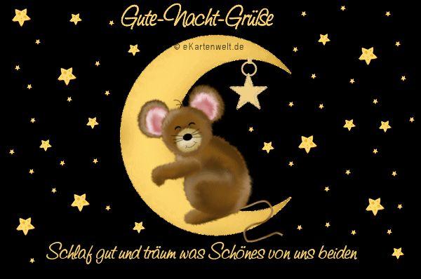 Schlaf gut und träum was Schönes von uns beiden. Gute-Nacht-Grüße. Animierte Grußkarte mit Djabbi Maus