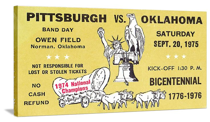 Football art. 1975 #Pittsburgh #Panthers vs. #Oklahoma #Sooners #football ticket stub art on canvas. Follow us on Twitter! https://twitter.com/47_Straight #47straight #twitter America's BEST college football art.™