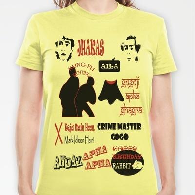 Andaz Apna Apna - womens fitted tshirt    Buy here:  http://society6.com/nikone/Andaz-Apna-Apna_T-shirt