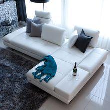 Real sofá de couro seccional móveis para casa sofá da sala sofá de canto em forma de L funcional moderno encosto pernas de aço inoxidável(China (Mainland))