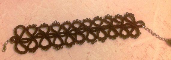 Handmade black tatted bracelet by Permano on Etsy, $22.00