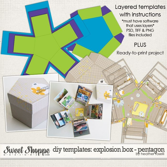 DIY Printable Templates: Explosion Box - Pentagon by Heather Roselli