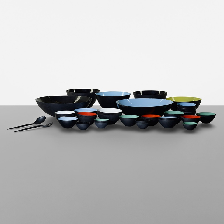 155: Herbert Krenchel / set of forty-three Krenit bowls with two serving utensils  Scandinavian Design, 16 May 2013  Auctions   Wright