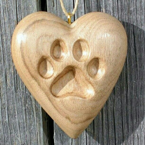 Carved Paw Imprint In Wood Heart Dremel Wood Carving Wood Carving Patterns Wood Carving Art