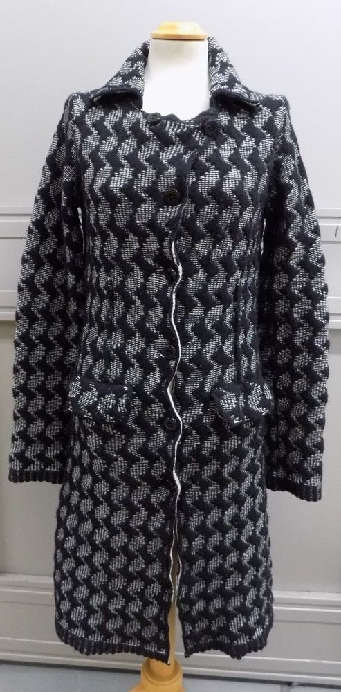 Ladies Black and White Wool Cardigan Coat by Sixty Size 12 UK #wintercoats