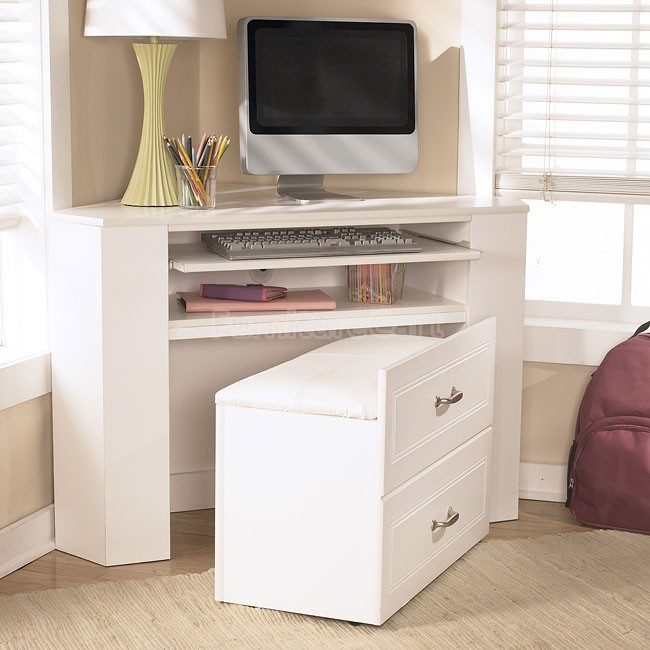 Lulu Corner Desk Media Unit W Stool