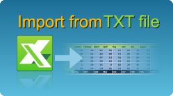 Import data from TXT in C#, VB.NET, Java, PHP, ASP classic, C++, C++.NET, VB6 and more! XLS, XLSX, XLSM, XLSB spreadsheets by EasyXLS.  #EasyXLS #Excel #Import #TXT #CSharp #VBNET #Java #PHP
