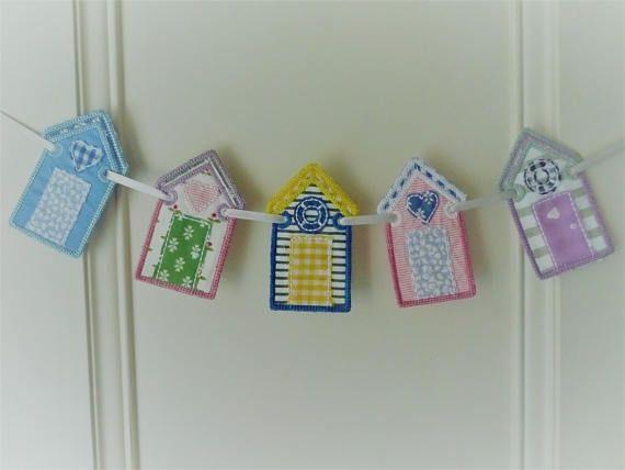 Beach Hut Bunting, Mini Nautical Banner, Applique Beach Hut Wallhanging, Wall Decor, Coastal, Laura Ashley, Housewarming, Holiday Home Gift