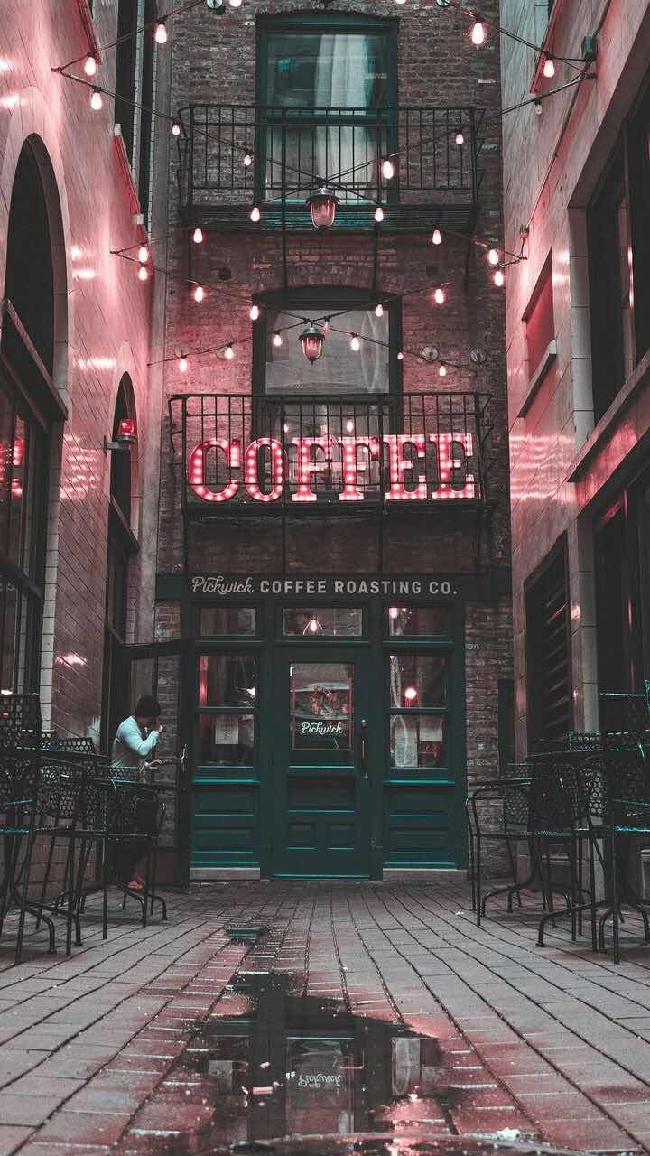 Iphone And Android Wallpapers Urban Coffee Shop Wallpaper For Iphone And Android Aesthetic Wallpapers Pink Aesthetic Neon Lighting