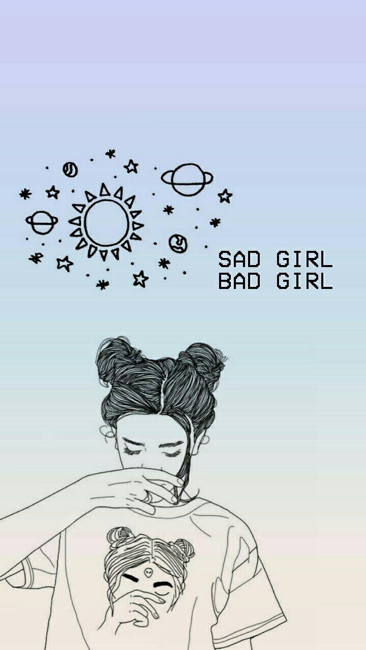 badgirl, gradient, grunge, outlines, Objek