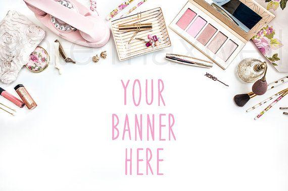 White Desk w/ Blush Pink & Gold Jewelry Makeup and by KateMaxShop