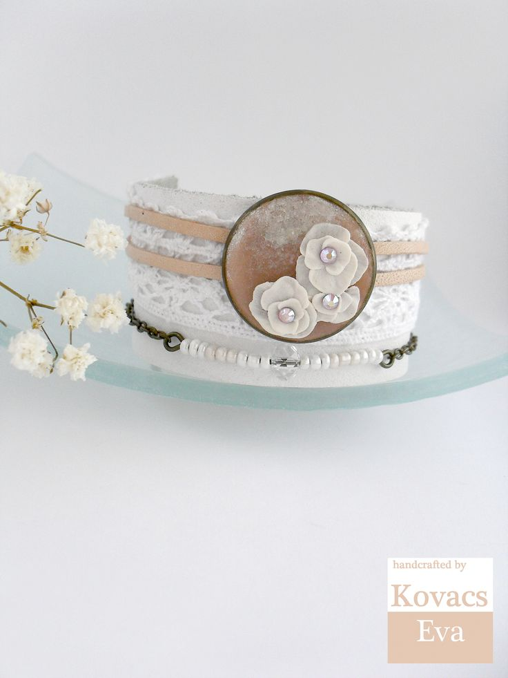 Vintage style white leather bracelet.Handmade 3D flowers.White and peach cuff. Bracelet with beads,lace,leather and flowers.