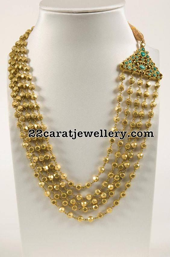 Five layers Gold Balls Haram - Jewellery Designs
