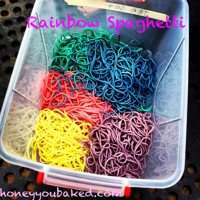 Rainbow Spaghetti - cook it with food coloring I assume? That would be awesome for fingerless night.