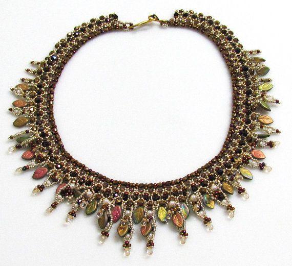 FOLIA AUTUMN Fringed Necklace - Isabella's vintage Swarovski & Miyuki jewelry etsy shop