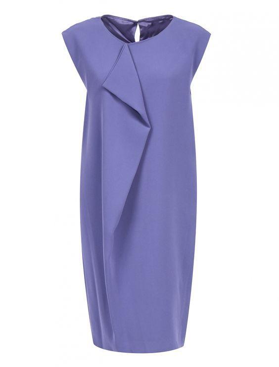 Платье-мини свободного кроя с драпировкой - Обтравка