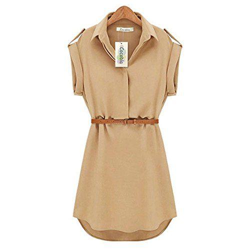 Genluna Cap Sleeve Stretch Ol Belt Chiffon Casual Shirt Mini Dress