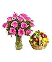 Fruits n Roses FlowerzNCakez brings for you a healthy wishes with Pink Roses and Fresh Fruits Basket.