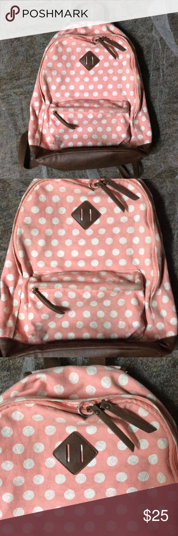 Pink and white polka dot backpack Preloved peachy pink backpack with white polka dots and brown leather straps. Bags Backpacks