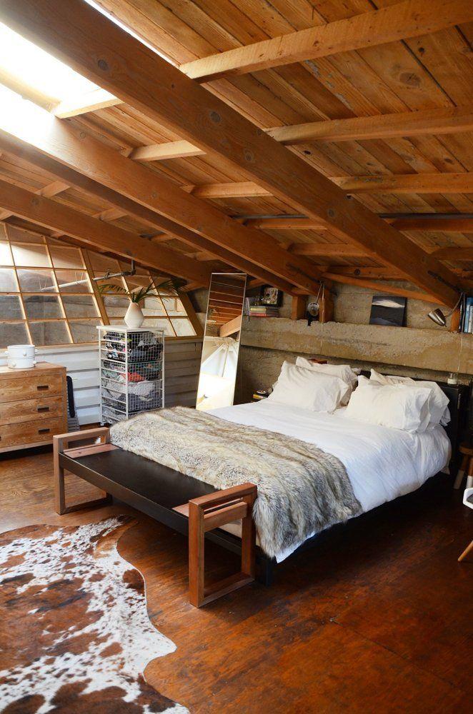 Loft bedroom with skylight
