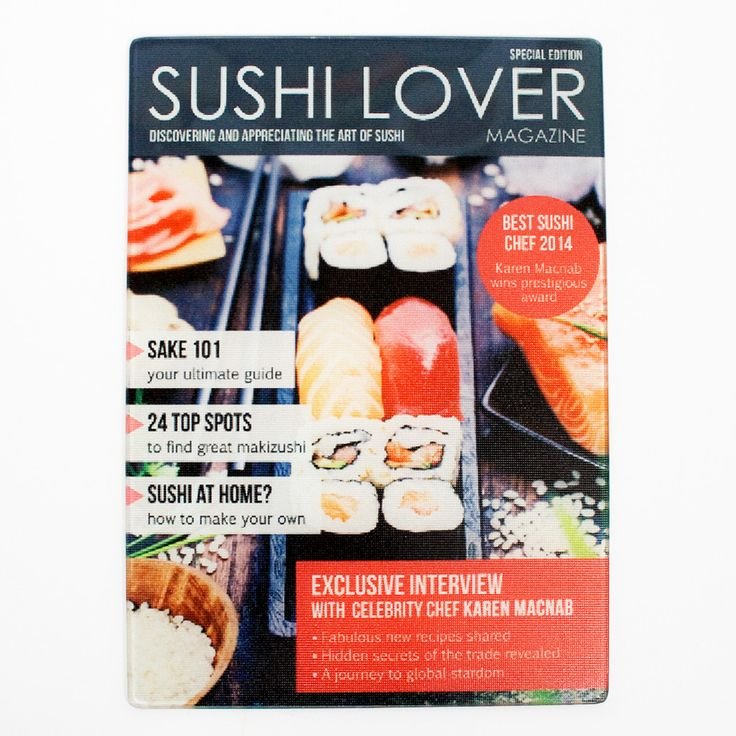 Sushi Lover Magazine, Personalised Glass Chopping Board - yourgifthouse