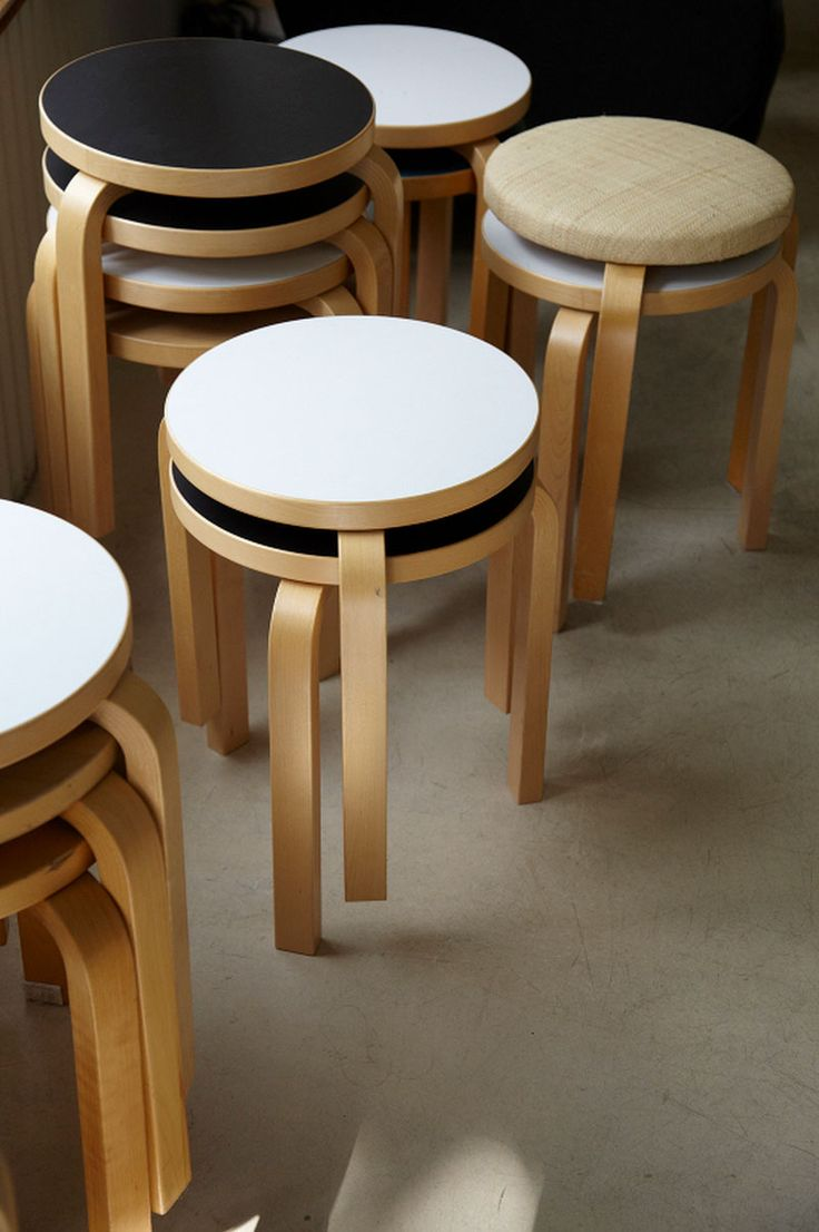 Alvar Aalto stools. pic by Leslie Williamson