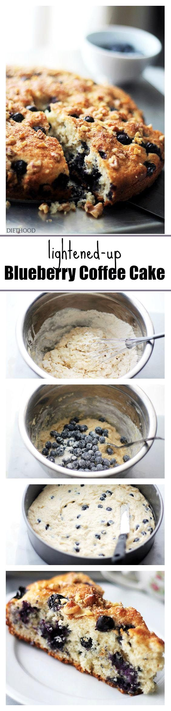Lightened-Up Blueberry Coffee Cake – Soft, light and airy, this coffee cake is loaded with fresh blueberries and topped with sweet, crunchy walnuts.  Low calorie, but it sure doesn't taste like it! It's absolutely delicious!