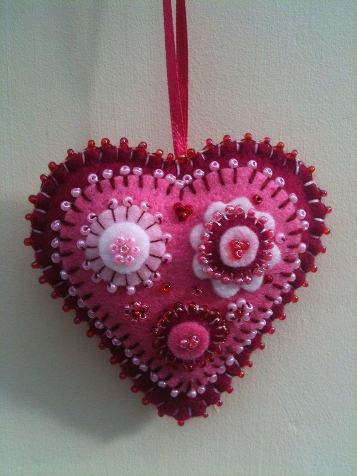 beaded felt heart
