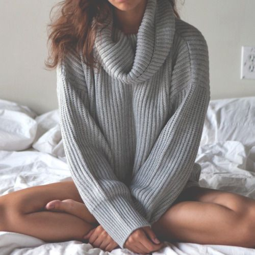 grey cowl neck sweater