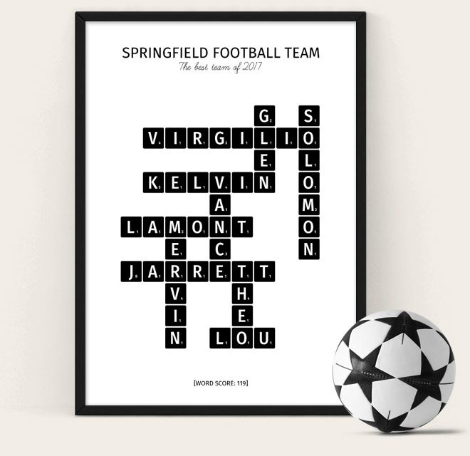 Football Team Poster - scrabble style