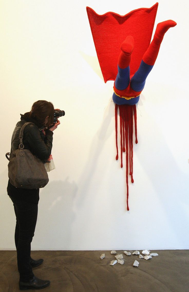 """The knitted sculpture """"Superman"""" by Patricia Waller 2"""