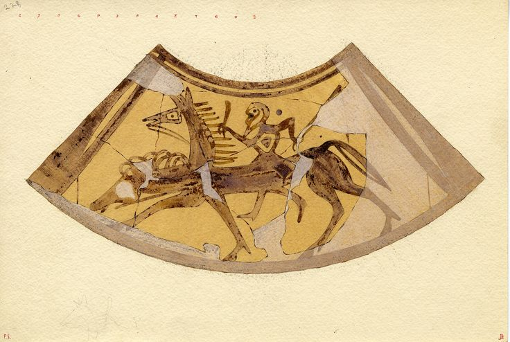Agora Image: Watercolor by Piet de Jong of fragmentary proto-attic oenochoe; possibly Herakles slaying the Hydra.  Reserved panel at front, painted in subgeometric manner: bearded rider, holding hunting knife and dragging something behind him, pursues, left, an animal(?) whose head with heavy mane(?) extends to the left beyond the body of the horse.